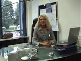 German secretary has fun alone in her office